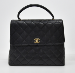 """H-13 Chanel 12"""" Kelly Style Black Quilted Caviar Leather Handbag"""