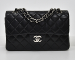 """H-14 Chanel 2.55 10"""" Double Flap Black Quilted Leather Shoulder Bag Silver Hardware"""
