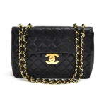 "Chanel Vintage Classic 13"" Maxi Black Quilted Lambskin Leather Classic Flap Bag"