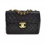 "Vintage Chanel 12"" Jumbo Black Quilted Leather Shoulder Classic Flap Bag"