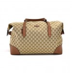 Gucci GG Original Canvas & Brown Leather Large  Foldable Boston Travel Bag