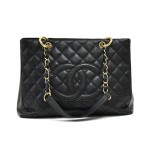 Chanel GST Black Quilted Caviar Leather Grand Shopping Tote