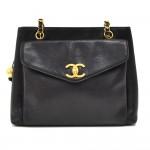 Vintage Chanel Black Caviar Leather Front Envelope Pocket Chain Shoulder Bag