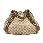 Gucci Pelham GG Original Canvas & Brown Leather Horsebit & Grommet Shoulder Bag