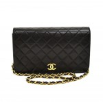 Vintage Chanel Classic Black Quilted Lambskin Leather Shoulder Flap Bag Ex