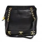 Vintage Chanel Black Triple CC Logo Lambskin Leather Shoulder Bag