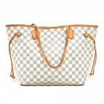 Louis Vuitton Neverfull MM White Damier Azur Canvas Tote Bag