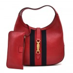 Gucci Jackie Red Calfskin Leather & Navy Striped Web Hobo Bag