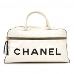 Vintage Chanel Sports Line White Quilted Calfskin Boston Travel Bag