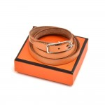 Vintage Hermes  Brown Leather Silver Tone Buckle Wrap Bracelet