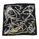 Vintage Chanel Pearl CC Logo Charms & Gold Chain Black Silk Scarf