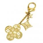 Louis Vuitton Gold-Tone Ivy Monogram Flower Keychain / Bag Charm
