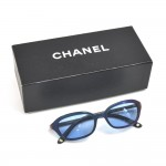 Chanel Blue Iridescent Acetate Frame Light Blue Tinted Oval Sunglasses 5002