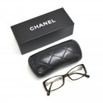 Chanel Tortoise Shell Style Brown Camellia Acetate Rectangular Eyeglasses 3195-A