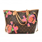 Louis Vuitton Neverfull MM Stephen Sprouse Roses Monogram Canvas Shoulder Tote Bag - 2009 Limited