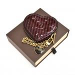 Louis Vuitton Porte Monnaies Purple Striped Vernis Leather Heart Shaped Coin Case