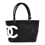 Chanel Cambon Neon Pink & Black Quilted Calfskin Leather Tote Bag