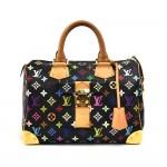 Louis Vuitton Speedy 30 Black Multicolor Monogram Canvas City Handbag