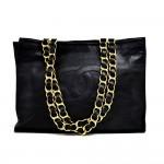 Chanel Jumbo XL Black Lambskin Leather Shoulder Shopping Tote Bag