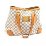 Louis Vuitton Hampstead MM White Azur Damier Canvas Tote Shoulder Bag