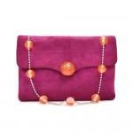 Chanel Fuchsia Quilted Suede Orange Orb CC Logo Mini Flap Bag