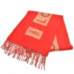Louis Vuitton Red & Camel Cashmere Logo Scarf