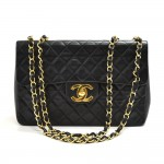 "Vintage Chanel Classic 13"" Maxi Black Quilted Leather Classic Flap Bag"