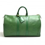 Louis Vuitton Keepall 45 Green Epi Leather Duffle Travel Bag