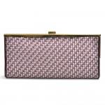 Christian Dior Logo Monogram Burgundy Jacquard Fabric Clutch Bag