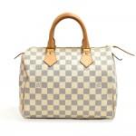 Louis Vuitton Speedy 25 White Damier Azur Canvas City Handbag