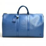 Vintage Louis Vuitton Keepall 50 Blue Epi Leather Duffle Travel Bag