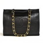 Vintage Chanel Jumbo XL Black Lambskin Leather Shoulder Shopping Tote Bag