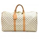 Louis Vuitton Keepall 50 White Damier Azur Canvas Duffle Travel Bag