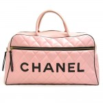 Vintage Chanel Sports Line Pink Calfskin Quilted Leather Boston Bag