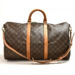 Vintaeg Louis Vuitton Keepall 50 Bandouliere Monogram Canvas Duffel Travel Bag + Strap