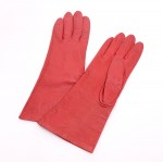 Hermes Red Leather Gloves for Women 7 1/2