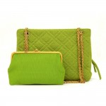Vintage Chanel Green Quilted Jersey Shoulder Bag + Wallet