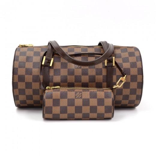 Louis Vuitton Papillon 30 Ebene Damier Canvas Hand Bag + Pouch 31e1af5d337